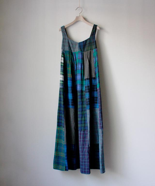 MALION vintage back open patchwork dress