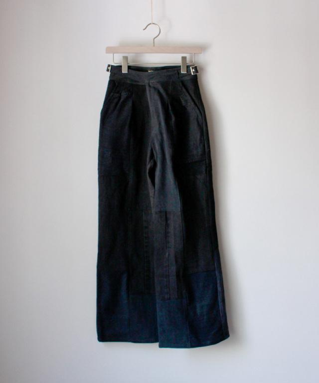MALION vintage west belt denim pants BLK/typeA