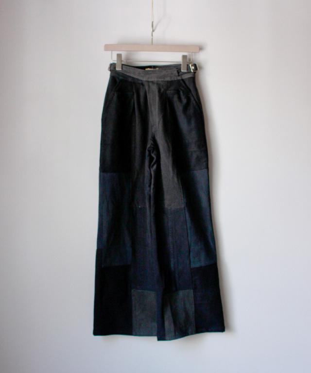 MALION vintage west belt denim pants BLK/typeC