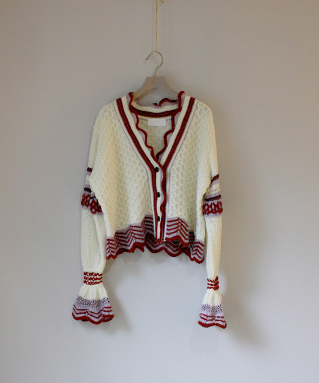 mame Lace Knitting Cardigan