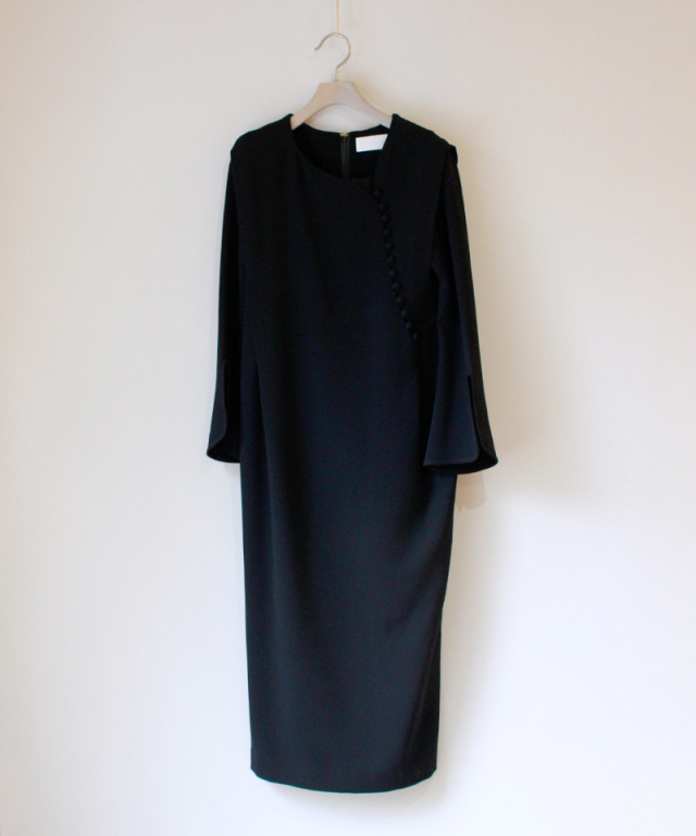 mame Asymmetrical Collar Long Dress BLACK