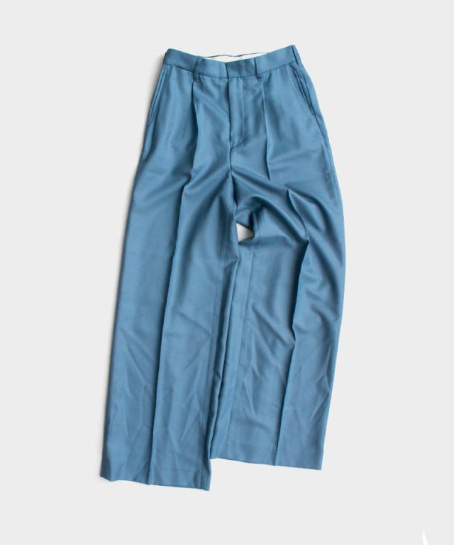 DAIRIKU Wool Wide Slacks Teal Blue