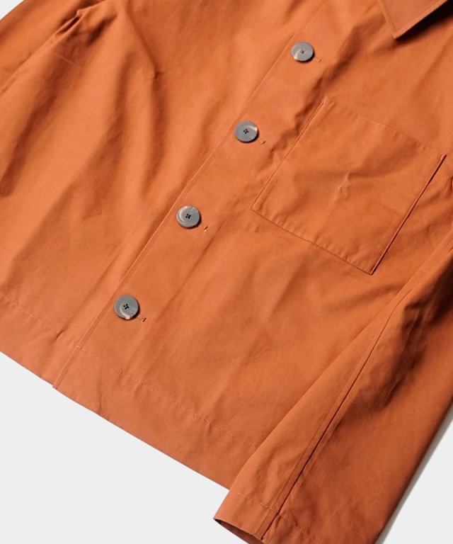 STUDIO NICHOLSON organic cotton twill long sleeve overshirt truffle