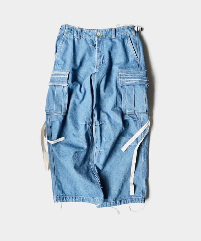 KUON Cargo Pants Indigo/Bleached