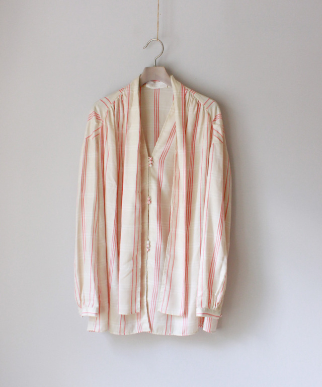 kengo CHECK SCARF BLOUSE Coral Check