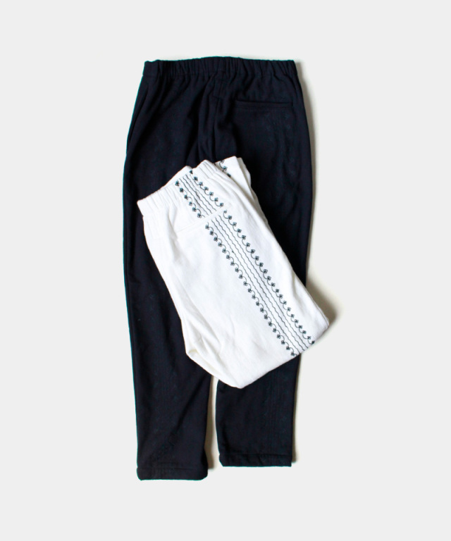 EASY TO WEAR COTTON TWILL PANTS-HAND EMBROIDERY WHITE