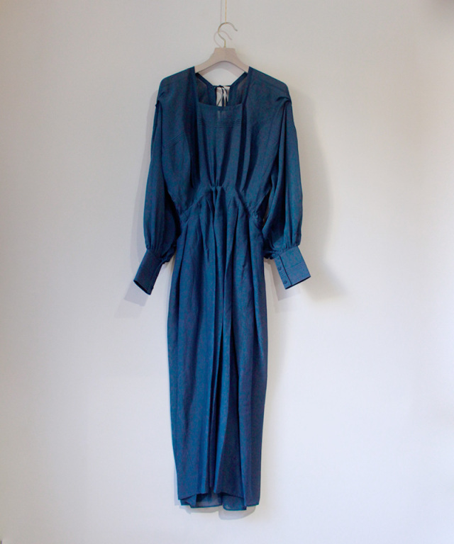 JUN MIKAMI シルクコットンスクエアネックドレス ネイビー
