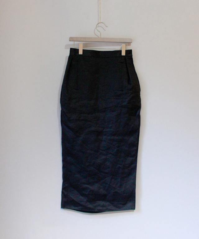 JUN MIKAMI アイリッシュリネンタイトスカート 黒
