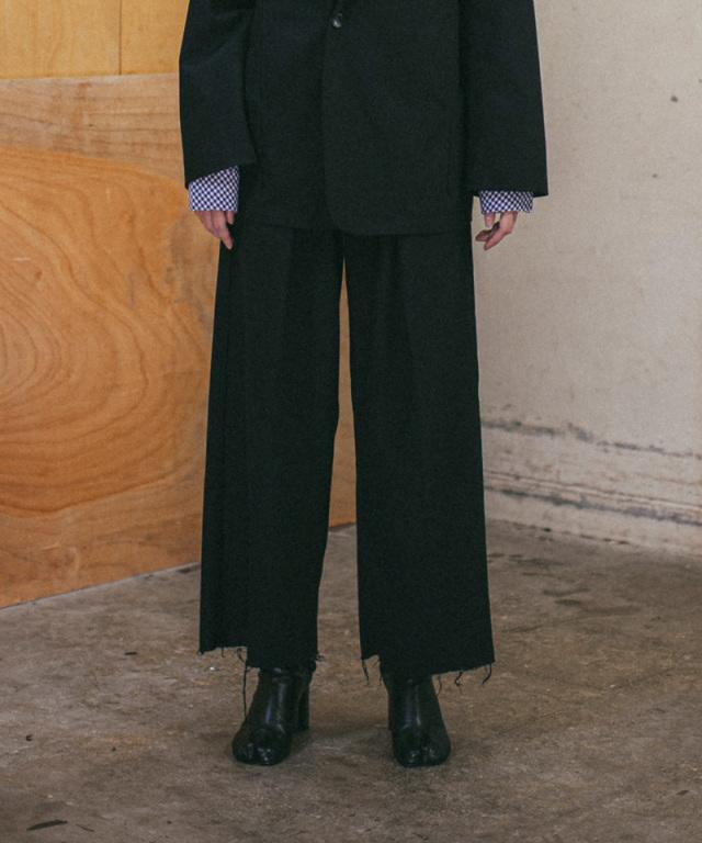 saby TUCK BAGGY-HARD TWISTED YARN CLOTH- BLACK