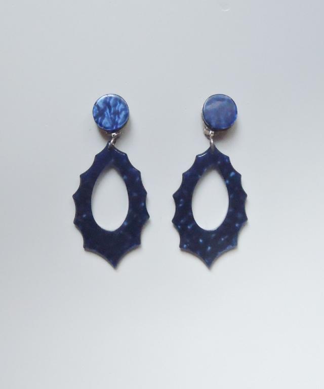 France vintage vintage motif earring blue