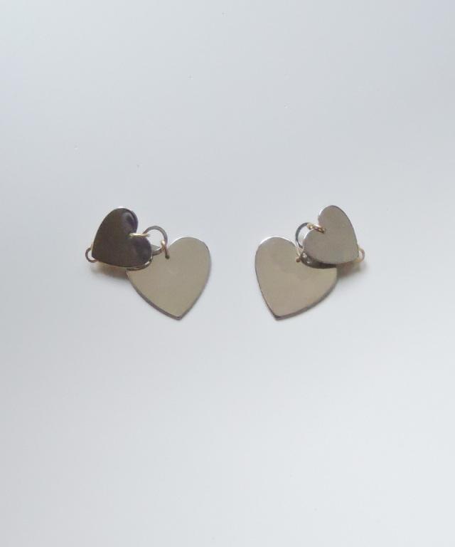 France vintage heart plate earring silver