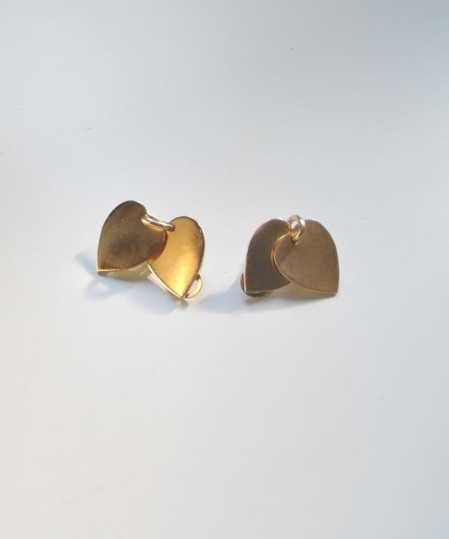 France vintage heart plate earring gold