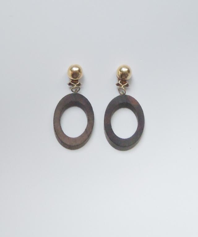 France vintage wood hoop earring