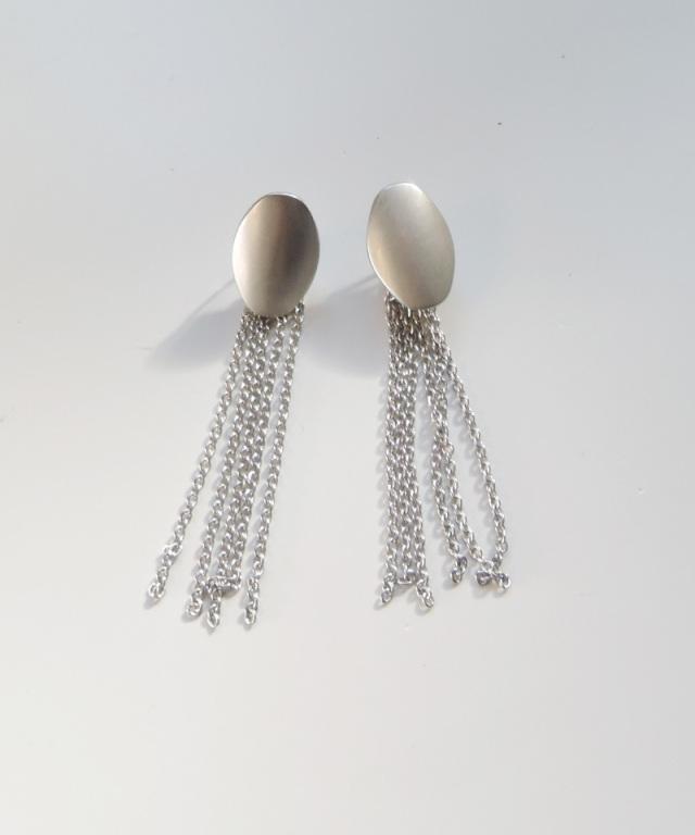France vintage silver fringe earring
