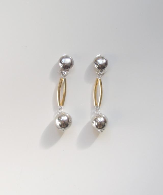 France vintage silver ball earring