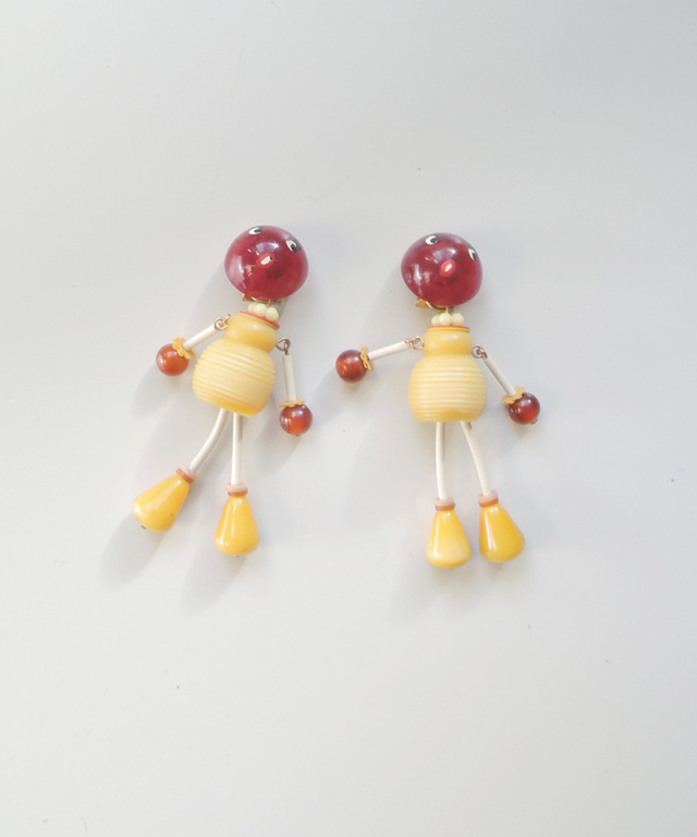 France vintage bakelite doll earring yellow