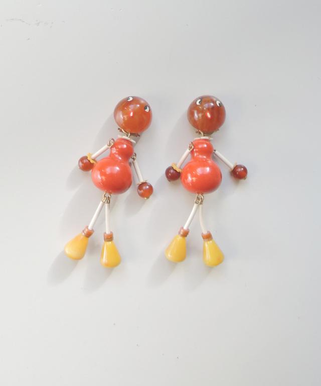France vintage bakelite doll earring orange