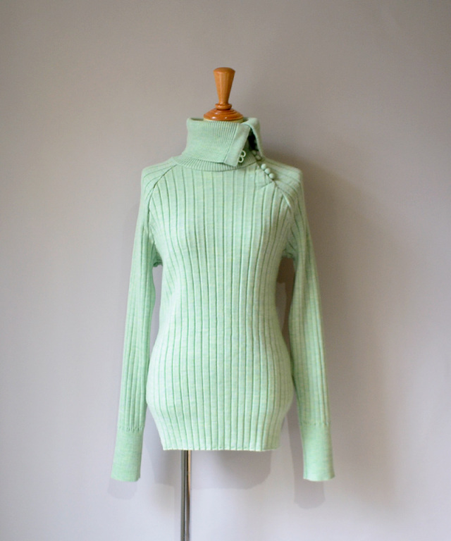 kengo wide rib color knit sewn PALE GREEN