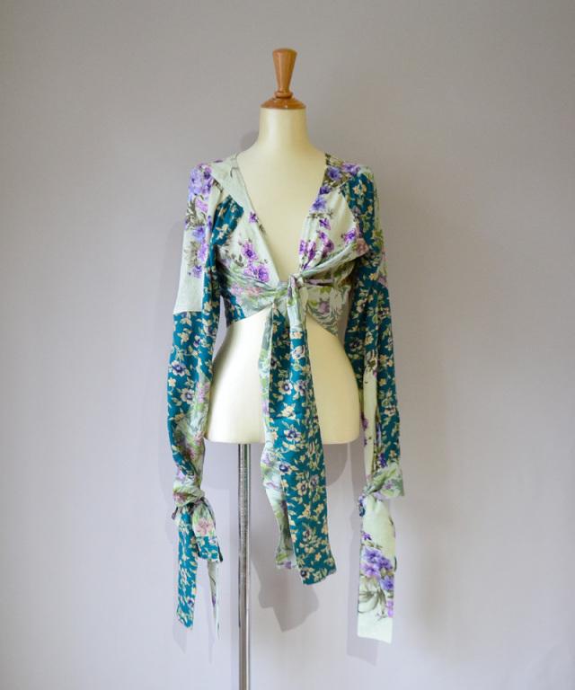 MALION vintage FLOWER CACHE-COEUR BLOUSE ASSORT-B
