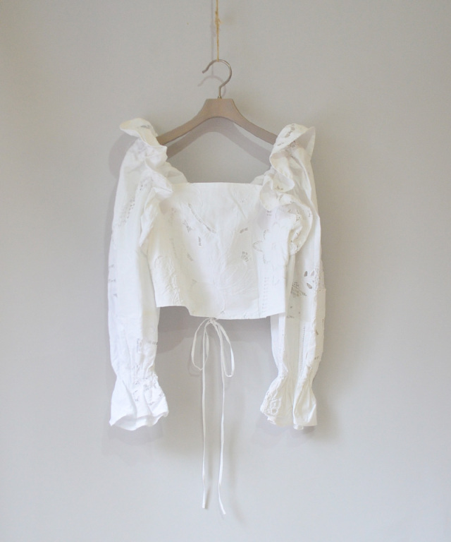 MALION vintage FRILL LACE-UP BLOUSE WHITE-A