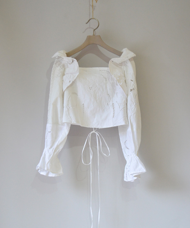 MALION vintage FRILL LACE-UP BLOUSE WHITE-B