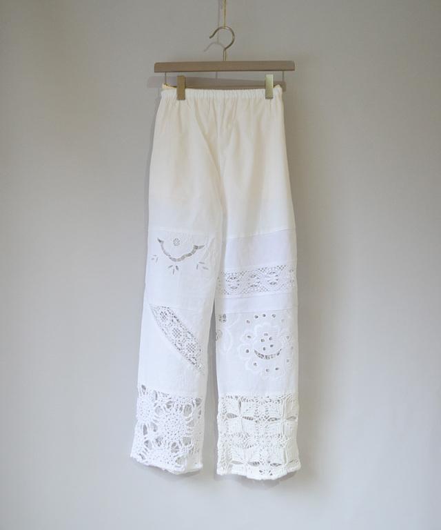 MALION vintage CROCHET LACE PANTS WHITE-A
