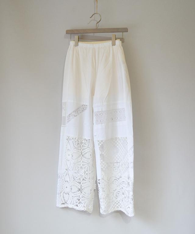 MALION vintage CROCHET LACE PANTS WHITE-B