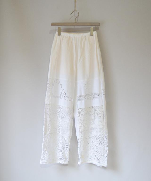 MALION vintage CROCHET LACE PANTS WHITE-C