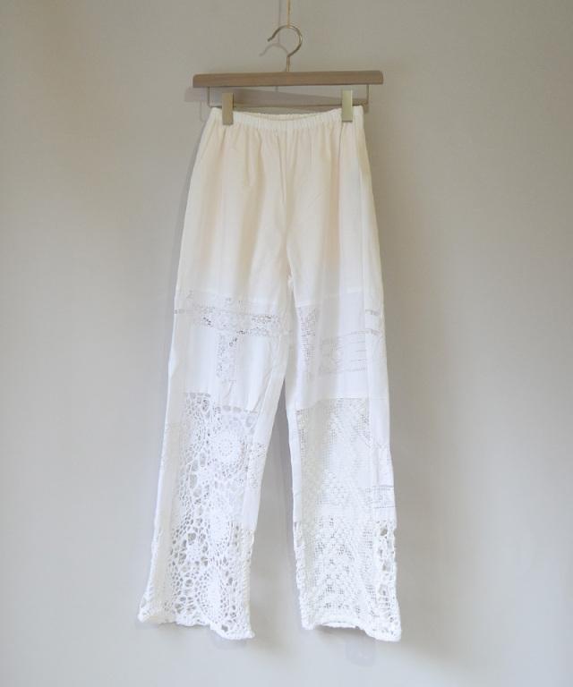 MALION vintage CROCHET LACE PANTS WHITE-D