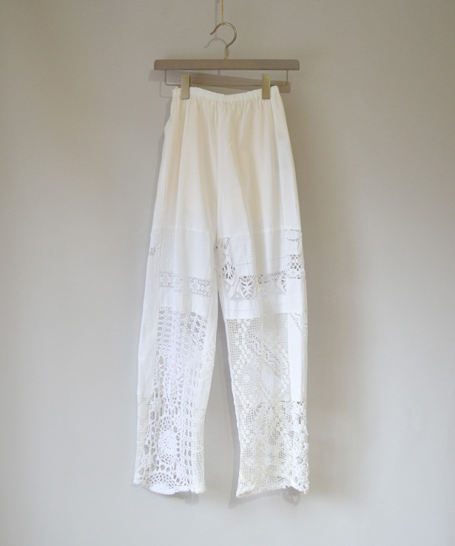 MALION vintage CROCHET LACE PANTS WHITE-E