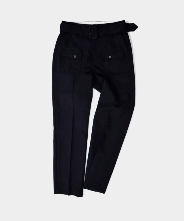 DAIRIKU Bush Detail Wool Slacks with Velt Black