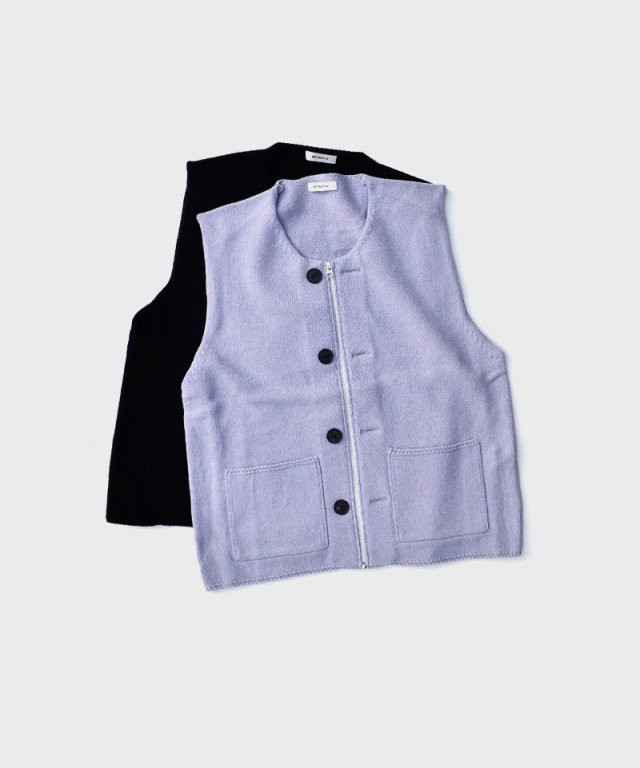 MATSUFUJI Modified Farmers Knit Vest BLACK