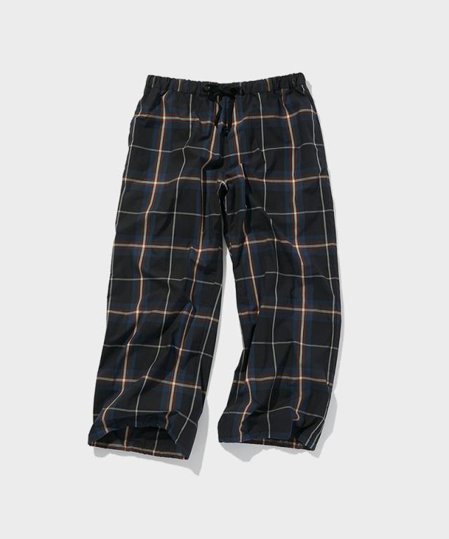 POLYPLOID OVER PANTS B BLACK/NAVY CHECK