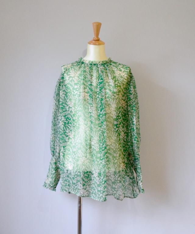 ERiKO KATORi flower chiffon blouse GRN