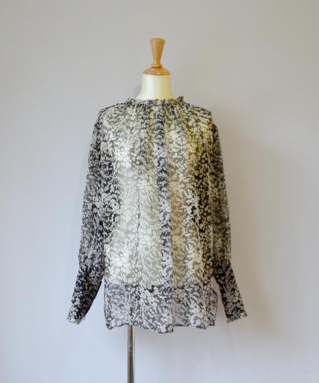 ERiKO KATORi flower chiffon blouse BLK