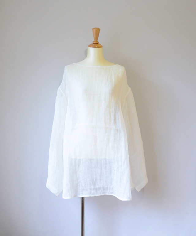 ERiKO KATORi linen gawze see-through L/S WHT