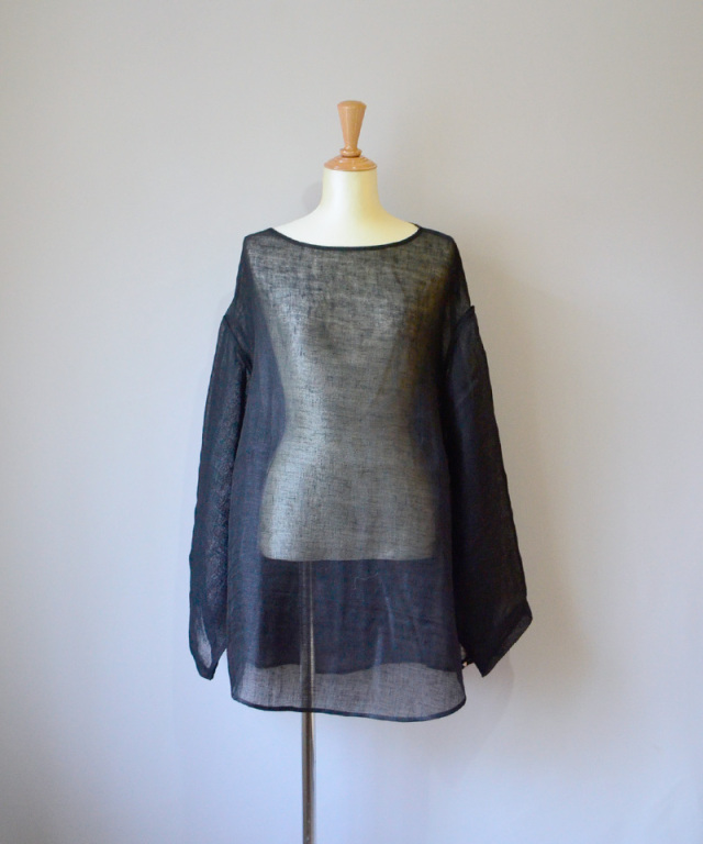 ERiKO KATORi linen gawze see-through L/S BLK
