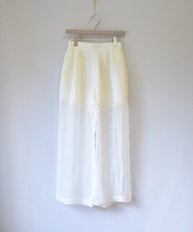 ERiKO KATORi linen gawze see-through pants WHT