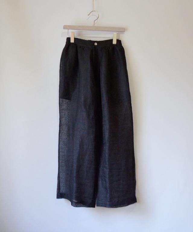 ERiKO KATORi linen gawze see-through pants BLK