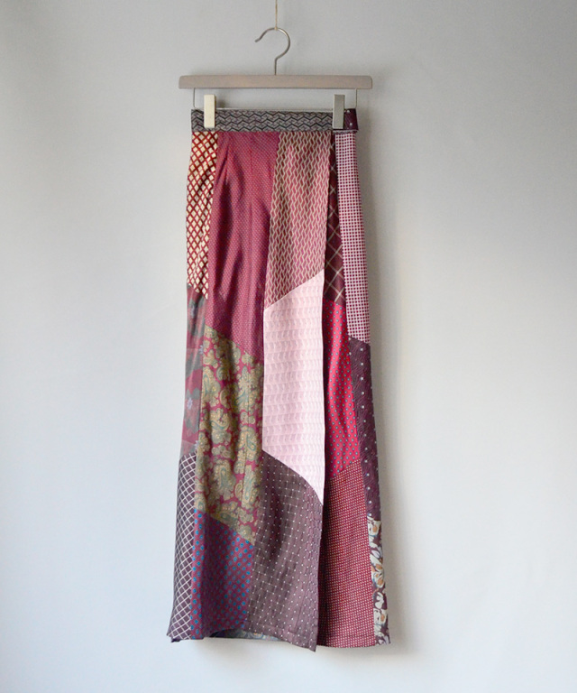 MALION vintage Tie patchwork skirt ASSORT-B