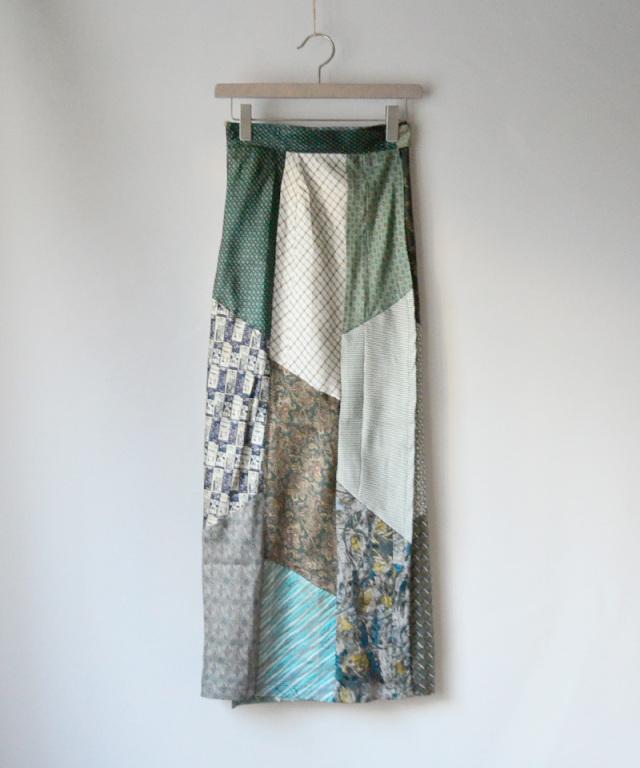MALION vintage Tie patchwork skirt ASSORT-C
