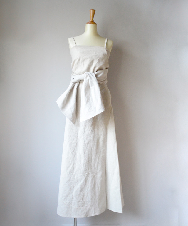 MALION vintage french linen ribbon dress BEIGE
