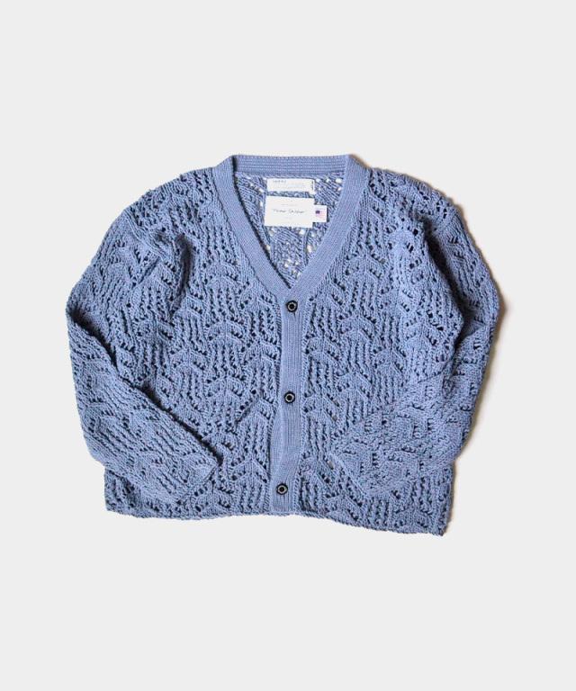 DAIRIKU Flower Pattern Hand Knitting Cardigan Sky