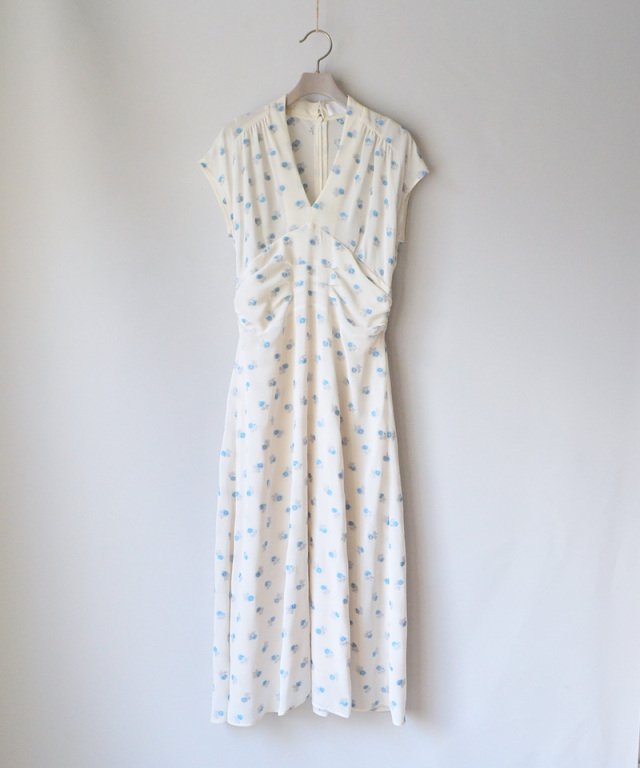 mame French Sleeve Dress With Small Flower Embroidery WHITE