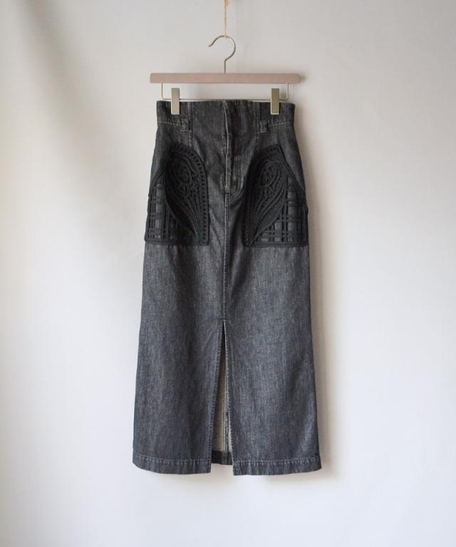 mame Embroidered Denim Skirt BLACK