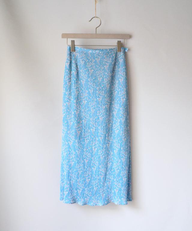mame Flower Hand-Printed Skirt BLUE