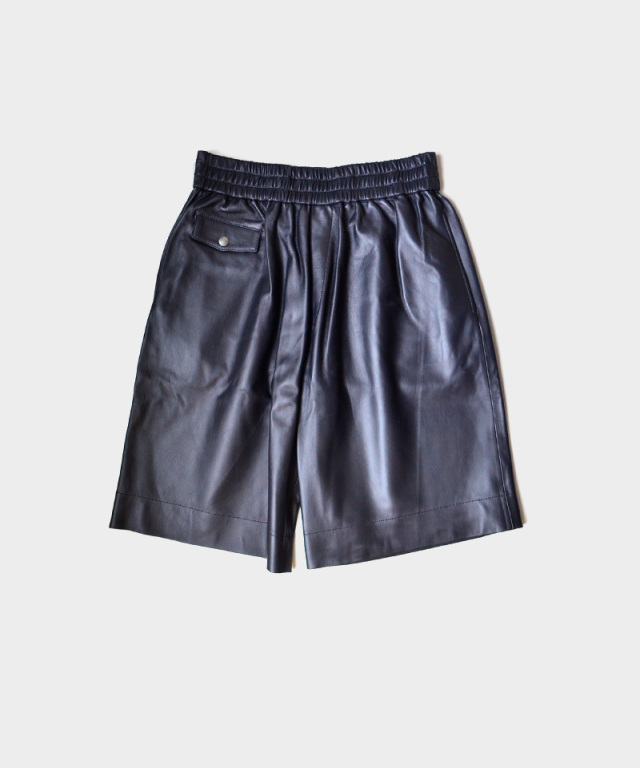 STUDIO NICHOLSON LAMB LEATHER MENS SHORTS DARK NAVY