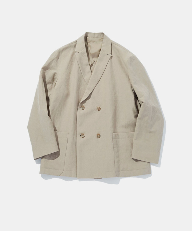 POLYPLOID DOUBLE BREASTED SUIT JACKET C SAND