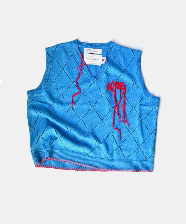 DAIRIKU LOVE Hand Embroidery Argyle Knit Vest Sky Blue