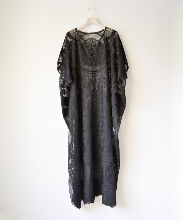 mame kurogouchi Curtain Lace Dress BLACK